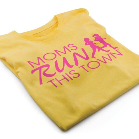 Running Short Sleeve T-Shirt - Moms Run This Town Logo (Pink)
