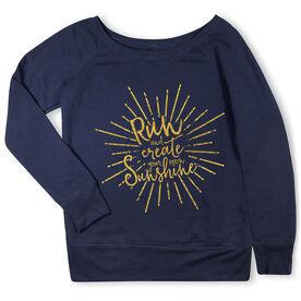 Running Fleece Wide Neck Sweatshirt - Run With Sunshine