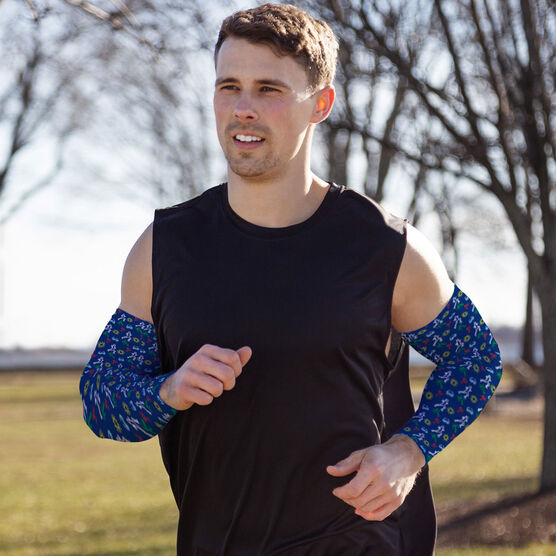 Running Printed Arm Sleeves - Tropical Male Runner