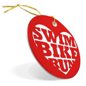 Triathlon Porcelain Ornament Swim Bike Run Heart