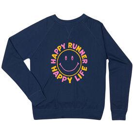 Running Raglan Crew Neck Sweatshirt - Happy Runner Happy Life