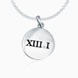 Sterling Silver Roman Numeral 13.1 Half Marathon Disc Necklace