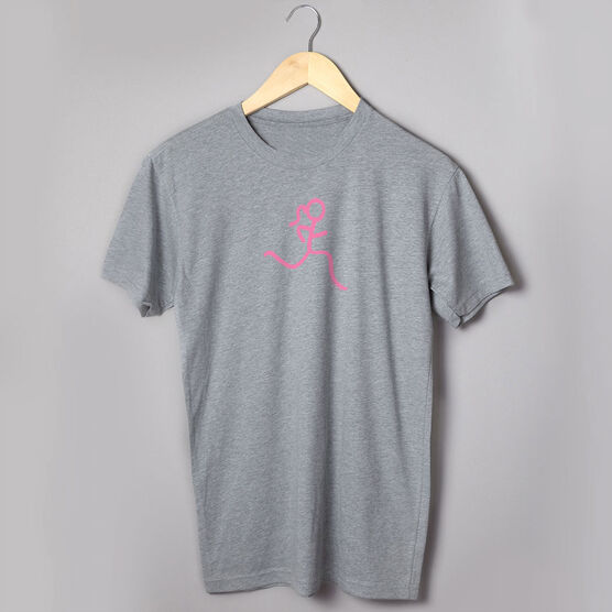 Running Short Sleeve T-Shirt -  Run Girl Stick Figure Pink