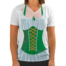 Women's Customized White Short Sleeve Tech Tee Lucky Lady