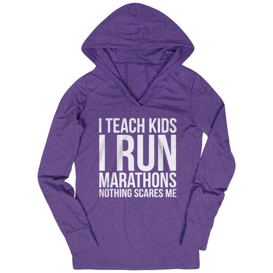 Women's Running Lightweight Performance Hoodie - I Teach Kids I Run Marathons
