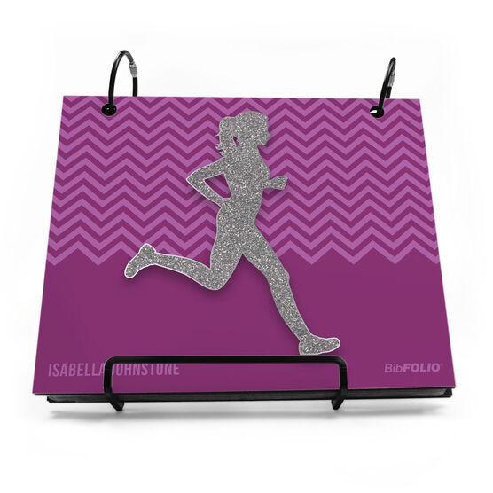 BibFOLIO® Race Bib Album - Runner Girl Faux Glitter Chevron
