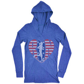 Women's Running Lightweight Performance Hoodie - Moms Run This Town Patriotic Heart