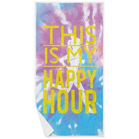 Running Premium Beach Towel - This is my Happy Hour Tie-Dye
