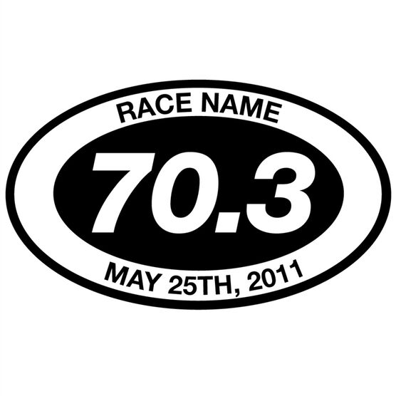 Personalized 70.3 Oval Triathlon Vinyl Decal