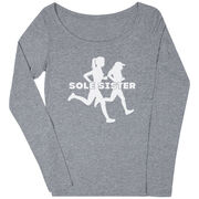 Women's Runner Scoop Neck Long Sleeve Tee - Sole Sister Silhouettes