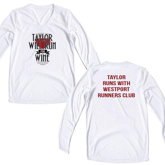 Women's Customized White Long Sleeve Tech Tee Will Run For Wine