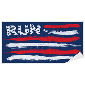 Running Premium Beach Towel - Run For The Red White and Blue