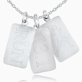 Sterling Run Rec. Tag, 13.1 Rectangular Tag, Runner Silhouette Rec. Tag, Triple Charm Necklace