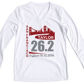 Women's Customized White Long Sleeve Tech Tee San Francisco Skyline 26.2