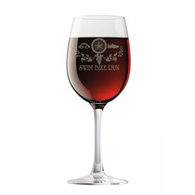 Swim Bike Run (Symbols) Wine Glass