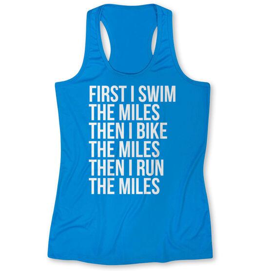 Women's Performance Tank Top - Swim Bike Run The Miles
