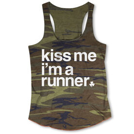 Running Camouflage Racerback Tank Top - Kiss Me I am a Runner Saying