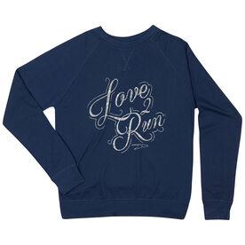 Running Raglan Crew Neck Sweatshirt - Love To Run (Script)