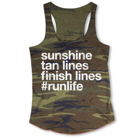 Running Camouflage Racerback Tank Top - Sunshine Tan Lines Finish Lines