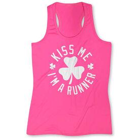 Women's Performance Tank Top - Kiss Me I am a Runner Shamrock