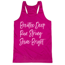 Women's Racerback Performance Tank Top - Breathe Deep Run Strong