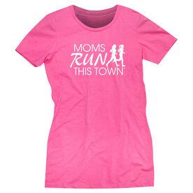 Women's Everyday Runners Tee - Moms Run This Town Logo (White)