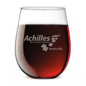 Stemless Wine Glass - Achilles International-Nashville Logo