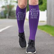 Running Printed Knee-High Socks - She Believed She Could So She Did