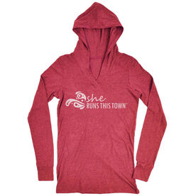 Women's Running Lightweight Performance Hoodie - She Runs This Town Logo (White)