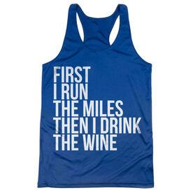 Women's Racerback Performance Tank Top - Then I Drink The Wine