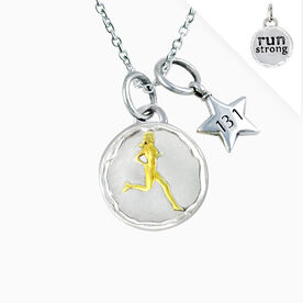 Livia Collection Sterling Silver and 14K Gold Vermeil Run Strong Token 13.1 Necklace