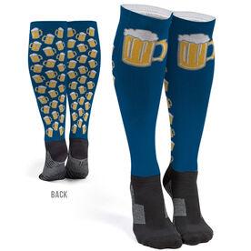 Running Printed Knee-High Socks - Run For Beer