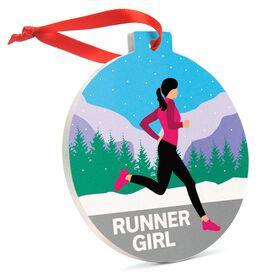 Running Round Ceramic Ornament - Runner Girl