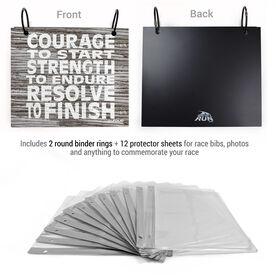 BibFOLIO® Race Bib Album - Courage, Strength, Resolve Rustic