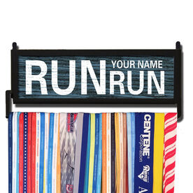 RunnersWALL Personalized Rustic Run Name Run Medal Display