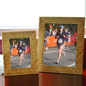 Bamboo Engraved Picture Frame Marathon Runners Female Silhouette