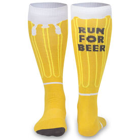 Woven Yakety Yak! Knee High Socks - Will Run For Beer (Amber/Brown/White)