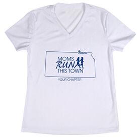 Women's Running Short Sleeve Tech Tee - Moms Run This Town Kansas Runner