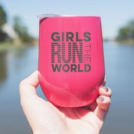 Running Stainless Steel Wine Tumbler - Girls Run The World