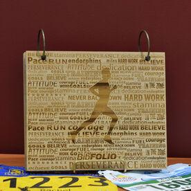 Engraved Bamboo Wood BibFOLIO Running Inspiration Male