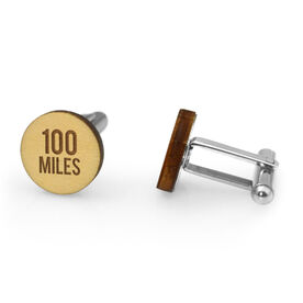 Running Engraved Wood Cufflinks 100 Miles