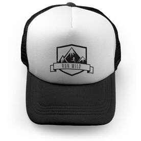 Running Trucker Hat Run Wild Badge Female Silhouette