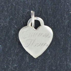 Sterling Silver Runner Mom Engraved 13mm Heart Charm