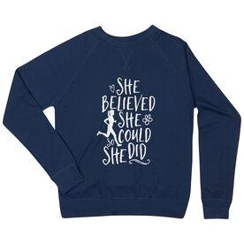 Running Raglan Crew Neck Sweatshirt - She Believed She Could (Sketch)