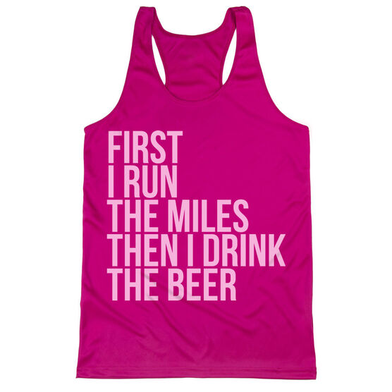 Women's Racerback Performance Tank Top - Then I Drink The Beer