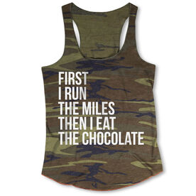 Running Camouflage Racerback Tank Top - Then I Eat The Chocolate