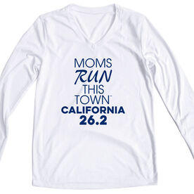 Women's Running Long Sleeve Tech Tee - Moms Run This Town California 26.2