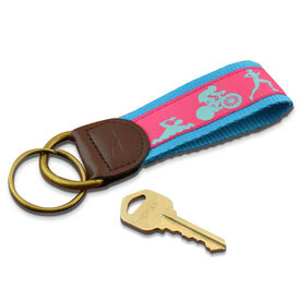 Swim Bike Run Triathletes Key Fob (Pink/Light Blue)
