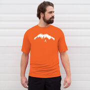 Men's Running Short Sleeve Tech Tee - Trail Runner in the Mountains