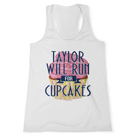 Women's Customized Performance Tank Top Will Run For Cupcakes (White Tank Top)